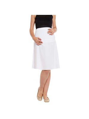 White Elasticated Maternity Skirt