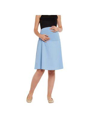 Blue Elasticated Maternity Skirt