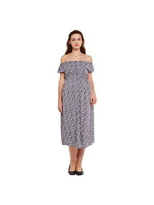 Printed Off-Shoulder Maternity Dress