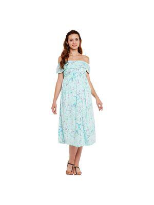 Off-Shoulder Floral Maternity Dress