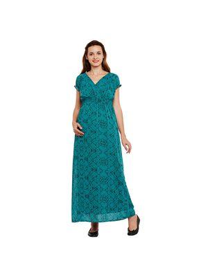 Green Printed Maternity Maxi Dress