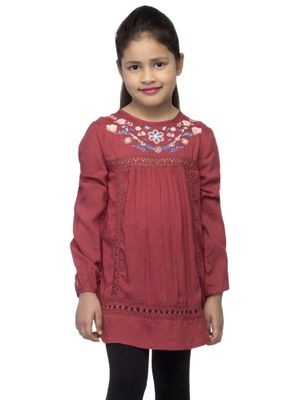 Girls Red Embroidered Top
