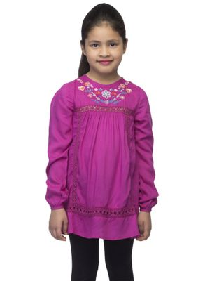Girls Pink Embroidered Top