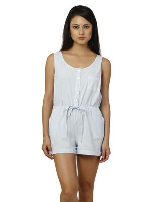 Women Blue Cotton Playsuit