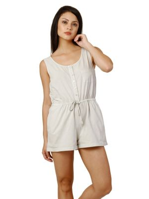 Women Grey Cotton Playsuit