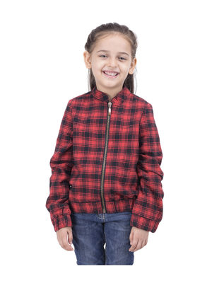 Girls Red Check Jacket