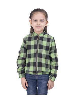 Girls Green Check Jacket