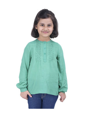 Girls Green Embellished Top