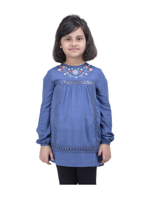 Girls Blue Embroidered Top