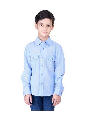 Boys cool blue cotton shirt