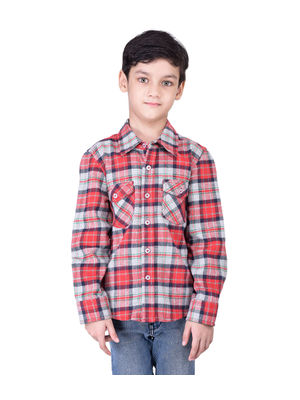 Boys check multi cotton shirt