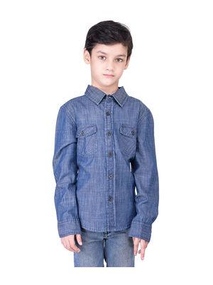 Boys blue denim shirt