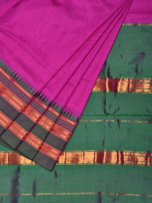 ee0ec993f8 Pink Narayanpet Silk Handloom Plain Saree with Traditional Border Design No  Blouse np0191