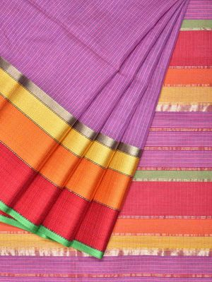 11c525860f Purple Maheshwari Cotton Silk Handloom Saree with Triple Border Design m0063