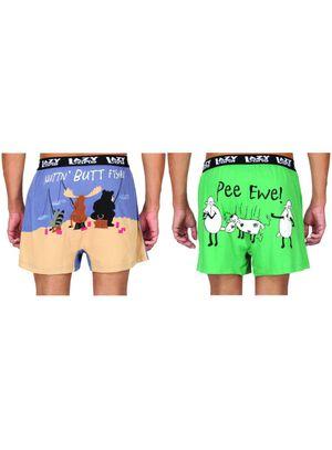 Pee ewe & Nuttin Butt Fishin-Lazyone Men Boxer Combo