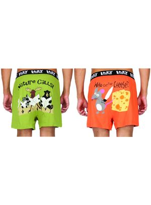 Nature Calls!& Who Cut The Cheese!-Lazyone Men Boxer Combo