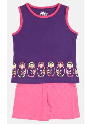 Nuteez Doll Tank Top & Shorts set for Girls