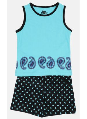Nuteez Paisely Tank Top & Shorts Set for Girls