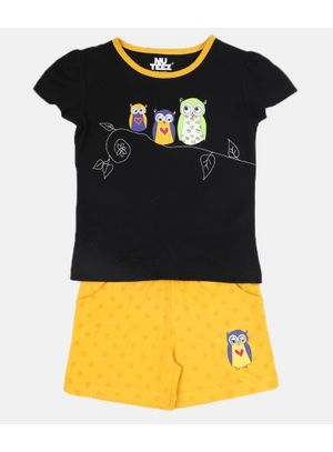 Nuteez Owls Tee & Shorts Set for Girls