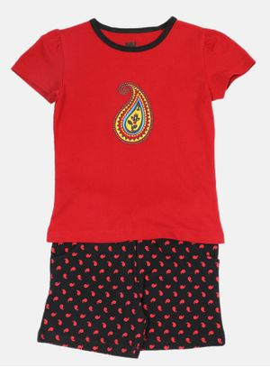 Nuteez Paisely Tee & Shorts Set for Girls