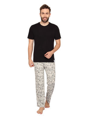 Plain Round Neck Tee & Traveller-Men PJ Set