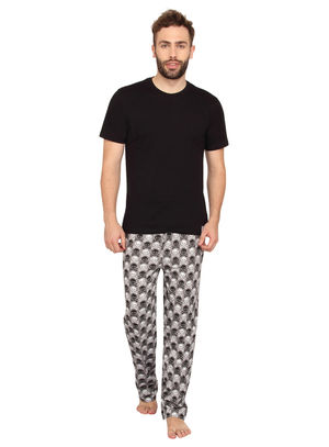 Plain Round Neck Tee & Skull-Men PJ Set