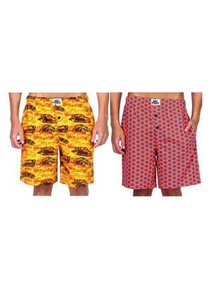 cars & hexagon-Men Shorts Combo