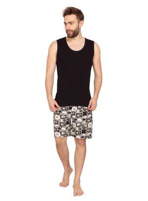 Plain Tank Top & Bad Boy Robo-Men Shorts Set