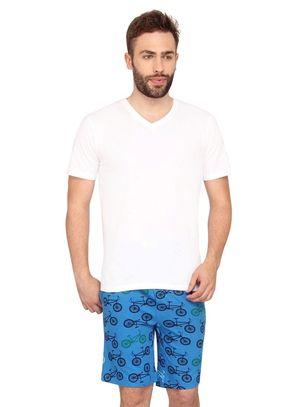 Plain Vneck Tee & Cycle-Men Shorts Set