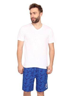 Plain Vneck Tee & Anchor-Men Shorts Set
