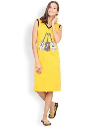 Nuteez Guitar  V-neck Nightdress for women