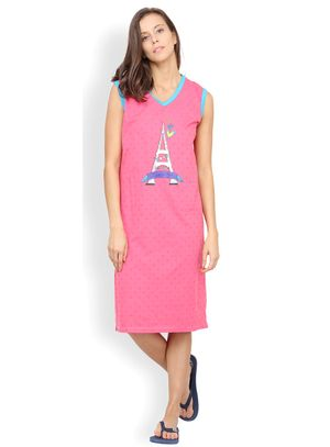Nuteez Love At Paris  V-neck Nightdress for women