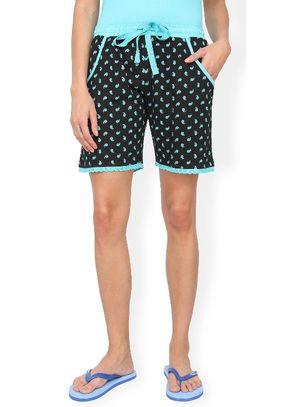 Blue & Black Polka Shorts