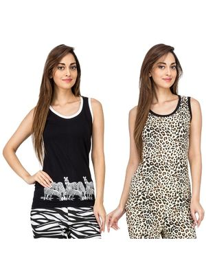 I Am Wild & Leopard -Women Tank Top Combo