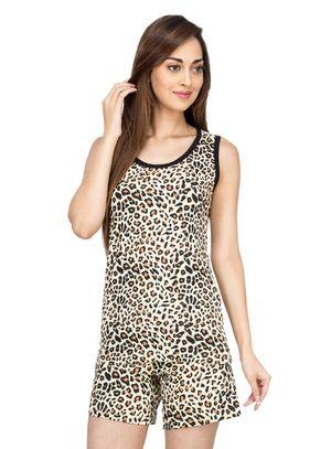 Leopard -Women Tank Top Shorts Set