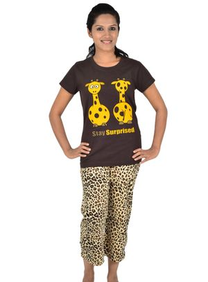 Stay Surprised & Leopard -Women Tee and Capri Set