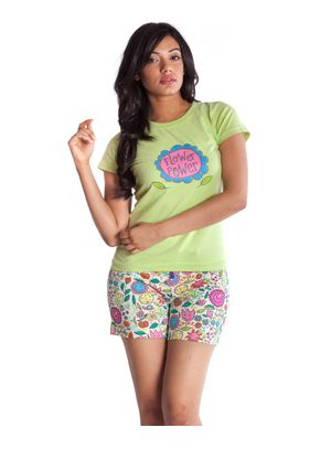 Flower Power -Women Tee and Shorts Set