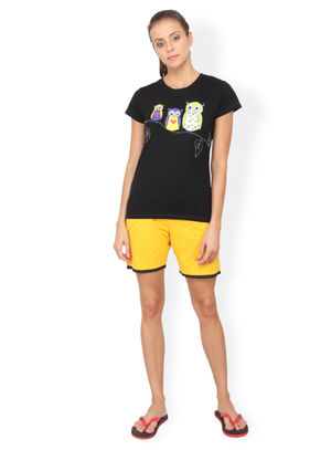 Nuteez Owls  tee & shorts set for women