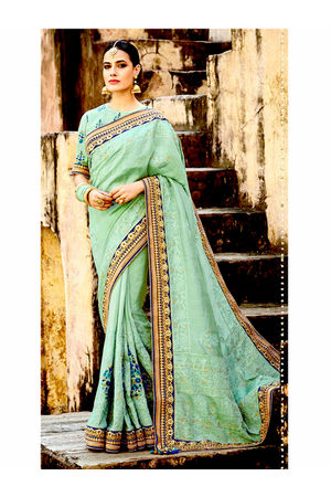 Pure Tussar Silk Embroidered Saree with Chikankari Work