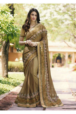 Brown Color Wedding Saree with Embroidery