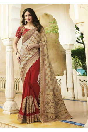 Red and Beige Wedding Saree with Heavy Embroidery
