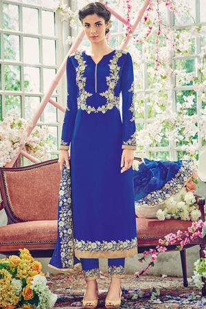 Blue Color Georgette Partywear Straight Suit