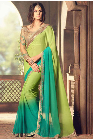 Shaded Green Party Wear Saree  with Designer Blouse