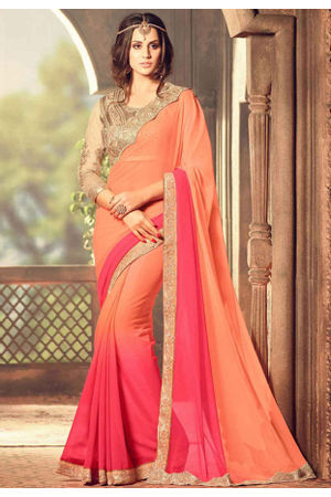 Party Wear Saree in Peachish Orange Color with Designer Blouse