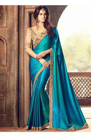 Party Wear Saree in Peacock Blue Color with Designer Blouse