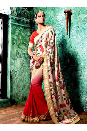 Floral Printed Crepe Saree in Red