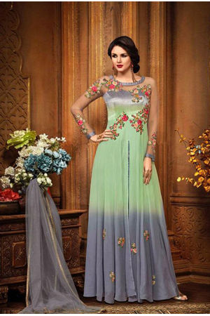Green Color Indowestern long Anarkali Gown Salwar Suit.