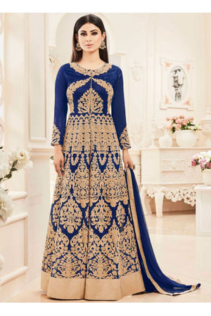 Blue Color Designer Embroidered Georgette Anarkali suit
