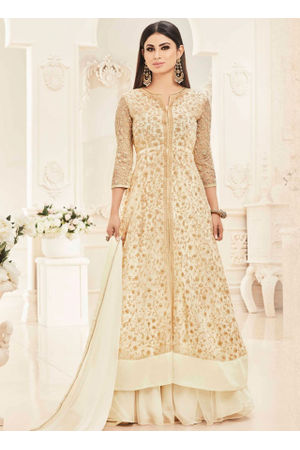 Mouni Roy Beige Color  Net with Georgette Anarkali Suit