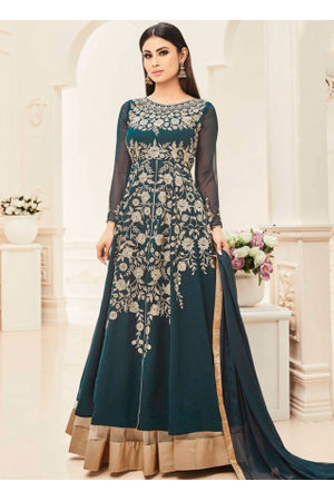 Green  Color Designer Embroidered Georgette Anarkali suit